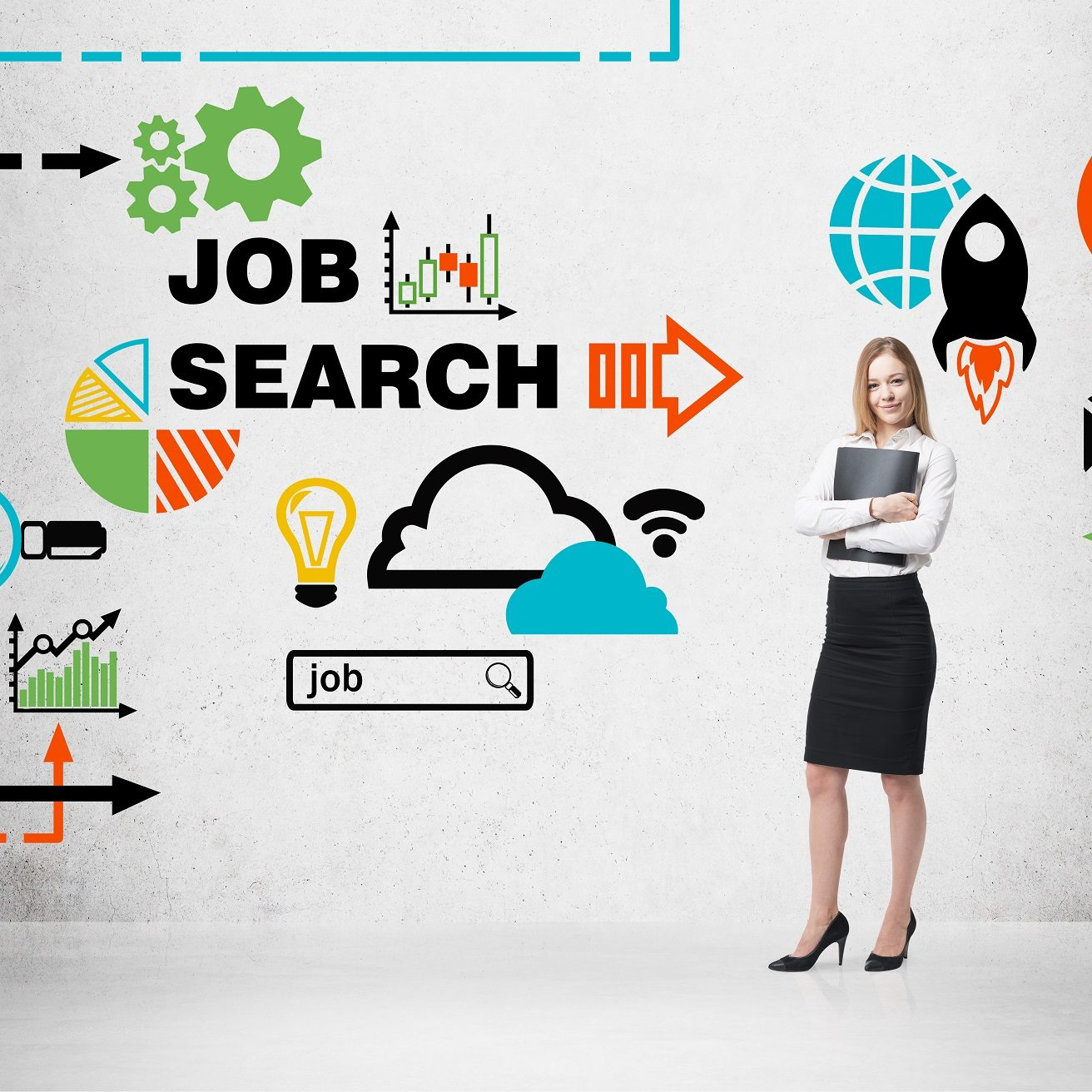 Beautiful recruiter agent with black folder is looking for new candidates. Colourful icons about job vacancies. A concept of recruitment process and job search. Internship and graduate programmes.